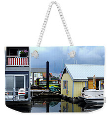 Weekender Tote Bag featuring the photograph Reflections Of Colorful Houses 2 by Haleh Mahbod
