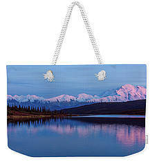 Weekender Tote Bag featuring the photograph Reflections Of Denali At Sunset by Brenda Jacobs