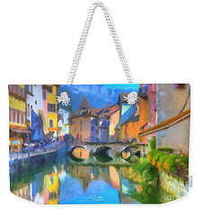 Weekender Tote Bag featuring the painting Reflections Of Eze by Chris Armytage