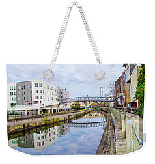 Weekender Tote Bag featuring the photograph Reflections Of Manayunk by Bill Cannon