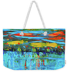 Weekender Tote Bag featuring the photograph Reflections Sky And Landscape Abstract by Haleh Mahbod