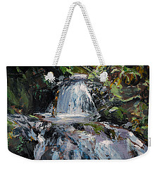 Weekender Tote Bag featuring the painting Refreshed - Rainforest Waterfall Impressionistic Painting by Karen Whitworth