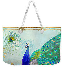 Regal Peacock 2 W Feather N Gold Leaf French Style Weekender Tote Bag
