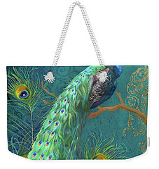 Weekender Tote Bag featuring the painting Regal Peacock 3 Midnight by Audrey Jeanne Roberts