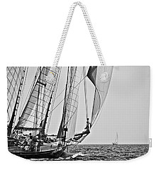 Regatta Heroes In A Calm Mediterranean Sea In Black And White Weekender Tote Bag