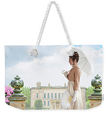 Regency Woman In The Grounds Of A Historic Mansion Weekender Tote Bag
