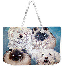 Reigning Cats N Dogs Weekender Tote Bag by Nancy Cupp