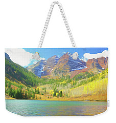 Weekender Tote Bag featuring the photograph The Maroon Bells Reimagined 1 by Eric Glaser