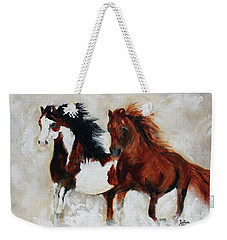 Weekender Tote Bag featuring the painting Rein And Dancer by Barbie Batson