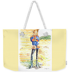 Reindeer Boy -- Portrait Of Young Laplander Man Weekender Tote Bag