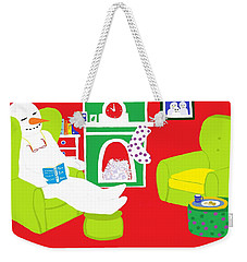 Weekender Tote Bag featuring the digital art Relaxing Snowman by Barbara Moignard