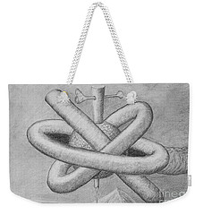 Weekender Tote Bag featuring the drawing Religion Of Science by Yulia Kazansky
