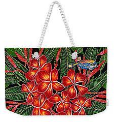Tropical Fish Plumerias Weekender Tote Bag by Debbie Chamberlin