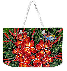 Weekender Tote Bag featuring the painting Tropical Fish Plumerias by Debbie Chamberlin