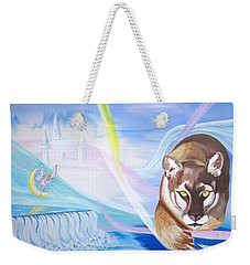 Weekender Tote Bag featuring the painting Remembering Childhood Dreams by Phyllis Kaltenbach