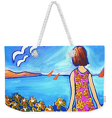 Weekender Tote Bag featuring the painting Remembering Joy by Winsome Gunning