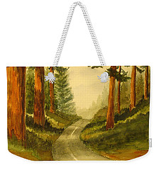 Weekender Tote Bag featuring the painting Remembering Redwoods by Marilyn Jacobson