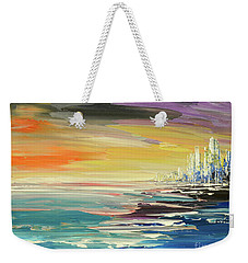 Weekender Tote Bag featuring the painting Remote Harmonies by Tatiana Iliina