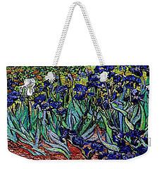 Weekender Tote Bag featuring the digital art replica of Van Gogh irises by Pemaro