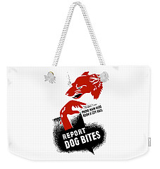 Weekender Tote Bag featuring the mixed media Report Dog Bites - Wpa by War Is Hell Store