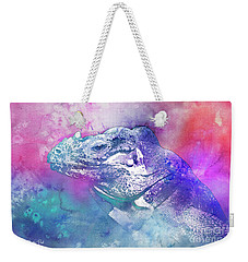 Weekender Tote Bag featuring the mixed media Reptile Profile by Jutta Maria Pusl