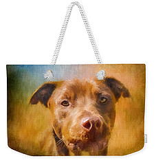 Rescued Chocolate Lab Portrait Weekender Tote Bag