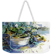 Weekender Tote Bag featuring the painting Rest In Peace by Rae Andrews