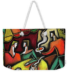 Weekender Tote Bag featuring the painting Restaurant by Leon Zernitsky