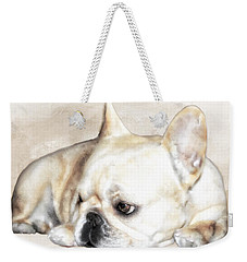 Weekender Tote Bag featuring the painting Resting Awareness by Barbara Chichester