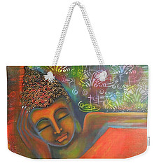 Weekender Tote Bag featuring the painting Buddha Resting Against A Colorful Backdrop by Prerna Poojara