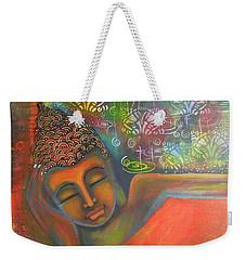 Buddha Resting Against A Colorful Backdrop Weekender Tote Bag by Prerna Poojara