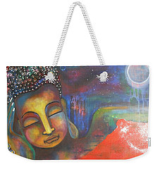 Weekender Tote Bag featuring the painting Buddha Resting Under The Full Moon  by Prerna Poojara