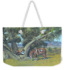 Weekender Tote Bag featuring the painting Resting Cowboy Painting A Study by Katalin Luczay