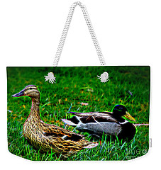 Weekender Tote Bag featuring the photograph Resting Ducks by Mariola Bitner