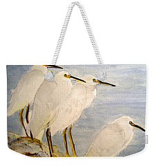 Weekender Tote Bag featuring the painting Resting Egrets by Carol Grimes