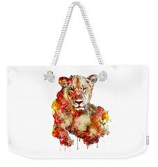 Resting Lioness In Watercolor Weekender Tote Bag