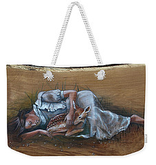 Resting Maiden With Fawn Weekender Tote Bag by Jacque Hudson