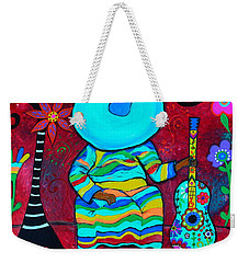 Weekender Tote Bag featuring the painting Resting Mariachi by Pristine Cartera Turkus