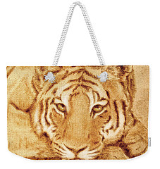 Weekender Tote Bag featuring the tapestry - textile Resting Tiger by Dale Loos Jr