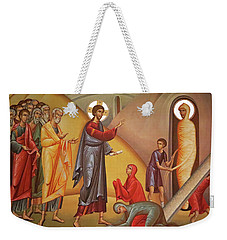Weekender Tote Bag featuring the painting Resurrection Of Lazarus by Munir Alawi