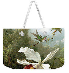 Retouched Masters - Orchid And Hummingbirds In Tropical Forest Weekender Tote Bag by Audrey Jeanne Roberts