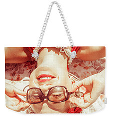 Retro 50s Beach Pinup Girl Weekender Tote Bag