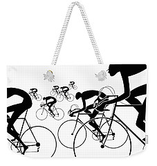 Weekender Tote Bag featuring the photograph Retro Bicycle Silhouettes 1986 by Padre Art