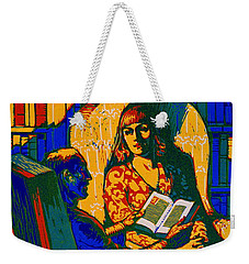 Weekender Tote Bag featuring the photograph Retro Books Poster 1920 by Padre Art