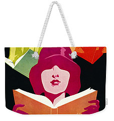 Weekender Tote Bag featuring the photograph Retro Books Poster 1929 by Padre Art