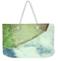 Retro Feel Beach Umbrella Blue Sky Weekender Tote Bag by Marianne Campolongo