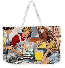 Weekender Tote Bag featuring the digital art Retro Home by Reinvintaged