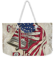 Weekender Tote Bag featuring the digital art Retro Patriotic-a by Jean Plout