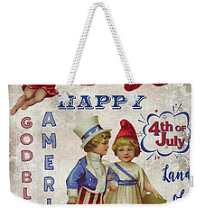 Weekender Tote Bag featuring the digital art Retro Patriotic-c by Jean Plout