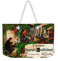 Weekender Tote Bag featuring the photograph Retro Printing Ad 1867 by Padre Art